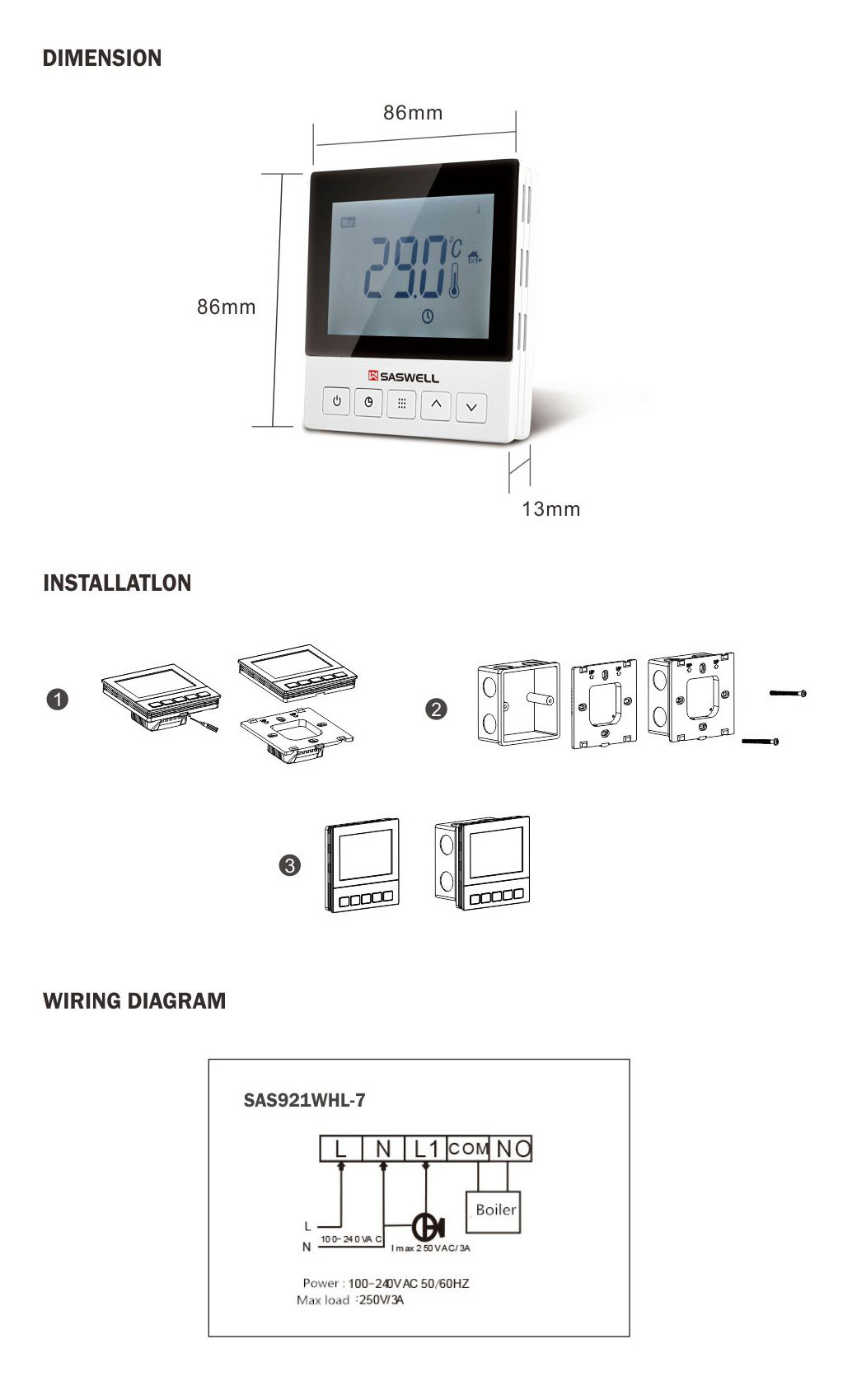 Water Floor Heating Thermostat