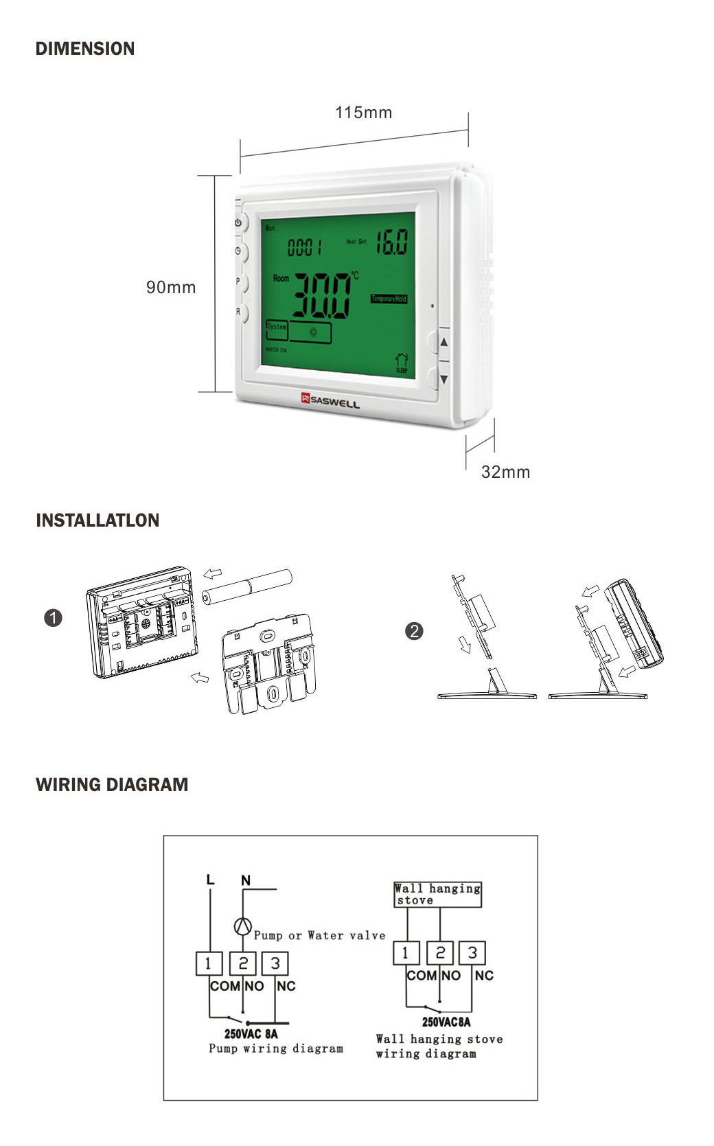 Water Boiler Floor Heating Thermostat